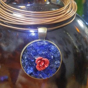 Rose + Glass Pendant Necklace